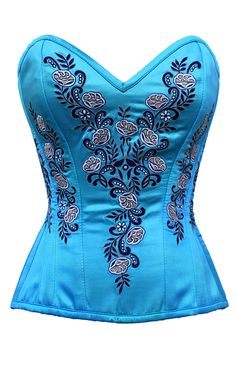 Turquoise Satin Classic Embroidered Overbust Corset. This corset is a delicate beauty!
