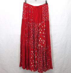 COLDWATER CREEK 5 Tiered RED FLORAL Peasant Broomstick Skirt Patchwork Long #ColdwaterCreek #PeasantBoho
