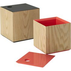 lacquer lid small peach box in storage | CB2