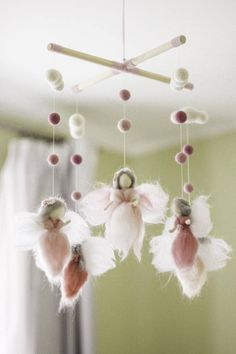 Needle felted Fairy Baby Mobile Baby mobile girl Baby shower