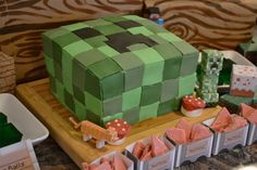 My kids love Minecraft the video game. They play it together and separately and sometimes with me. I'm secretly a Minecraft junky too . Minecraft Birthday Cake, Minecraft Cake, Birthday Fun, Birthday Party Themes, Minecraft Ideas, Birthday Ideas, Birthday Cakes, Mine Craft Party, Video Game Cakes
