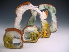 RACHEL SHIMPOCK-USA 24 toast with butter and moldy bread- bracelet and rings electroformed copper, gold, silver, enamel, citrines Textile Sculpture, Sculpture Art, Sculptures, Enamel Jewelry, Jewelry Art, Fungi, Decay Art, Growth And Decay, Food Mold