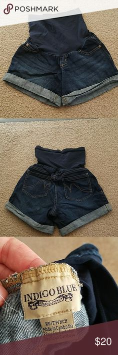 Indigo Blue maternity shorts Indigo Blue maternity shorts. Couple spots in the butt. Not sure what it is but comes off when scrapped at. Shorts Jean Shorts
