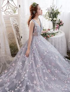 Gray floral tulle V neck long halter evening dress #prom #dress #promdress #gown