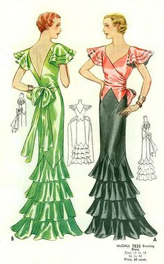 1930s McCall Evening Gown Pattern #7533