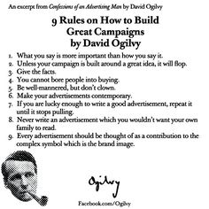 9 Rules on How to Build Great Campaigns by David Ogilvy