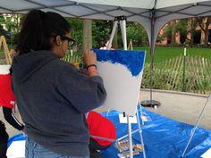 Artist begins her masterpiece