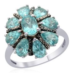 Liquidation Channel | Madagascar Paraiba Apatite and Enhanced Blue Diamond Ring in Platinum Overlay Sterling Silver (Nickel Free)