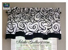 Black and White Ironworks Window Valance with 2 black bottom trim.  Modern Decor For Kitchen, Bedroom, any room! by Idaho Gallery  Fabric is limited to what we have on hand. We may not be able to re-order. Purchase what you need while we have it.  ************************************************************************ Please know your own window measurements to be sure of the fit.  Just so you know.... We recommend 2 to 3 xs your windows width in fabric for a nice fit. 2 xs windows width…