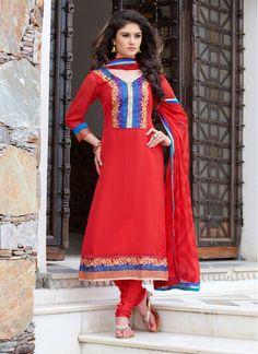 Affectionate Red Churidar Salwar Suit