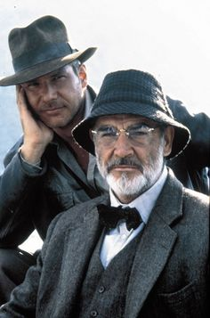 "filmhall: "" Harrison Ford & Sean Connery on the set of Indiana Jones and The Last Crusade - 1989 "" Sean Connery, Harrison Ford Indiana Jones, Indiana Jones Films, Indiana Jones Last Crusade, Movie Stars, Movie Tv, Henry Jones, Foto Portrait, Image Film"