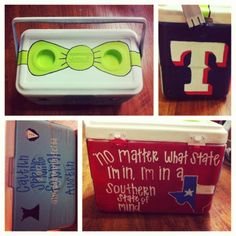 Painted cooler. I like the Bowtie and the quote about southern state of mind