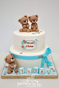 22 Ideas For Cupcakes Ideen Junge Torta Baby Shower, Safari Baby Shower Cake, Teddy Bear Baby Shower, Baby Boy Birthday Cake, Baby Boy Cakes, First Birthday Cakes, Panda Birthday, Teddy Bear Cakes, Beautiful Birthday Cakes