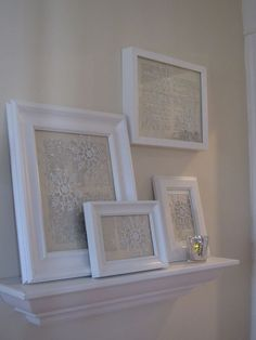 white frames with burlap and attach snow flakes to burlap. beautiful