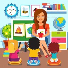 Buy Kindergarten Children Studying in Classroom by IconicBestiary on GraphicRiver. Kindergarten teacher woman teaching kids new words with picture cards. Children studying in classroom. Early Education, Childhood Education, Kids Education, Teacher Cartoon, Cartoon Kids, Teaching Kindergarten, Teaching Kids, Professor, Effective Classroom Management