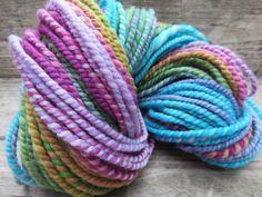 Handspun Yarn Art Yarn 2 Ply Bulky Wool Knit by RainbowTwistShop