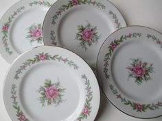 Vintage Fine China of Japan Melody Rose Pink Green by thechinagirl