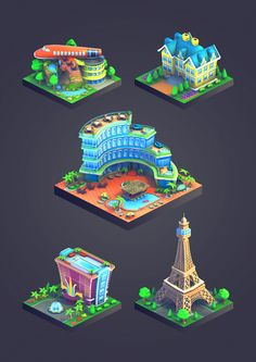 City Island: Airport game graphics by Ugis Brekis, via Behance