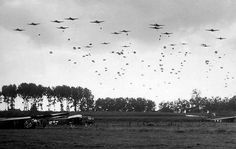 WWII- Elements of the US Airborne Division drop near Nijmegen Netherlands as part of Operation Market Garden 17 September Operation Market Garden, Photo Elements, 82nd Airborne Division, History Online, Paratrooper, Military History, Ww2 History, Military Photos, History Facts