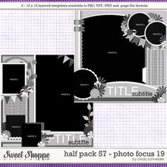 Cindy's Layered Templates - Half Pack Photo Focus 19 by Cindy Schneider 12x12 Scrapbook, Scrapbook Templates, Digital Scrapbook Paper, Scrapbook Sketches, Scrapbooking Layouts, Photo Focus, Diy Cards, Family History, Crafts
