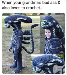 Woman Crochets Full Body Halloween Costumes For Her Kids Pics) - Crochet Xenomorph Costume – DIY Alien - Halloween Costume Crochet, Smurf Costume, Crochet Costumes, Halloween Costumes, Halloween Yarn, Lego Costume, Cardboard Costume, Halloween Cosplay, Halloween Outfits