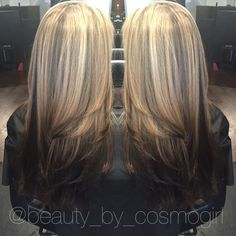 Highlights And Lowlights Blonde On Top Dark Underneath L Anza Haircolor Sierra Haircolorist See More Reverse Ombré