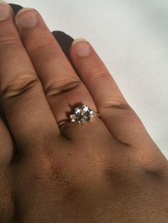 White Sapphire Vintage Ring   Conflict free engagement