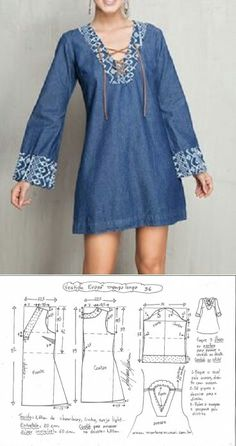 Vestido jeans o chambraiDIY Women's Clothing : Long sleeved dress…♥ Deniz ♥ -Read More –Blue peasant blouse off shoulder bell sleeve peplum free patternLong sleeved dress with lace-up front. pattern - denim with embroideryApparently, it's a Sewing Clothes, Diy Clothes, Clothes For Women, Dress Sewing Patterns, Clothing Patterns, Pattern Sewing, Free Pattern, Peasant Dress Patterns, Embroidery Patterns