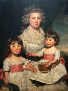 """""""Hannah Owen Jarvis (née Peters) with her daughters Maria Lavinia and Augusta Honoria Jarvis"""" by James Earl (1791-1792) at the Royal Ontario Museum, Toronto - From the curators' comments: """"Hannah Peters (1763-1845) was the daughter of Loyalists who fled to England during the American Revolution. She and William Jarvis, also a Loyalist, married in 1785, residing with her parents in Pimlico near London. The size of this portrait and its pendant suggest status if not wealth."""""""