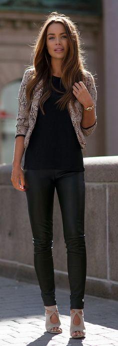 Street style | Snake jacket, black tee, leather pants, heels, watch