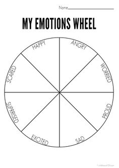 My Emotions Wheel Printable [use with Solution emotion flow] | Childhood101 angry, grateful; sad, happy;afraid, secure; guilty, proud; tired, rested; hungry, satisfied/full; lonely, loved; sick, healthy.