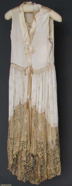 Stunning Lace Dress..vintage beige lace hem, satin ribbon trim, muslin.