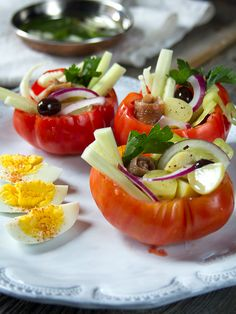 St. Tropez Summer Salad - salad served in tomato cups - looks so appetizing!