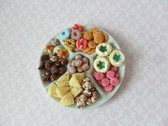 Cookie and candy platter, halloween candy, christmas candy, dollhouse miniature food, miniature candy, dollshouse seasonal food by MagentaMinis on Etsy