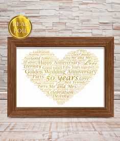 Golden Wedding 50th Anniversary Gift - Metallic Foiled Word Art PrintABC Prints  There is nothing much bigger in a couple's life than celebrating 50 years of marriage!  A Golden Wedding Anniversary is a truly momentous occasion and finding the perfect Golden Anniversary gift can be a challenge.  This very Golden Wedding Foiled print is the perfect golden wedding anniversary gift. It is printed in our special gold metallic foil to give a truly spectacular finish.  Each print is individually  Golden Wedding Anniversary Gifts, 50th Anniversary Gifts, Gold Foil Print, Word Art, Marriage, Metallic, Challenge, Couple, Art Prints