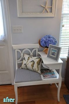 Gossip Bench Classic Makeover ~Themed Furniture Makeover - New ideas Upcycled Furniture, Furniture Making, Painted Furniture, Diy Furniture, Furniture Refinishing, Refinished Furniture, Vintage Furniture, Vintage Telephone Table, Home Crafts
