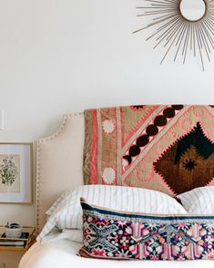 Such an easy way to shake things up - throw a vintage textile over your headboard! Just a few left online,… Interior Design Inspiration, Room Inspiration, Home Bedroom, Bedroom Decor, Casual Bedroom, Modern Bedroom, Bedroom Ideas, Master Bedroom, Aesthetic Rooms