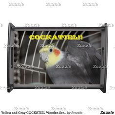 Yellow and Gray COCKATIEL Wooden Serving Tray