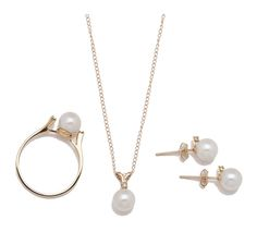 14K Akoya Pearl Pendant, Chain, Ring & Earring Set $449.99