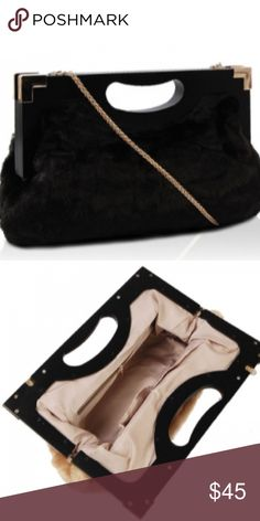 """Beautiful Black Evening Bag Material: Smooth Silky Fur Size : 8.5""""X 14.5""""X4"""" Magnetic Top Closure Gold-Tone Hardware Removable Shoulder Strap Bags Clutches & Wristlets"""