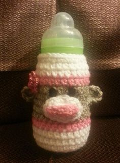 Sock monkey baby bottle cover