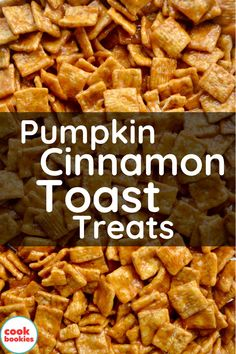 This pumpkin and cinnamon toast flavored marshmallow treat is easy and fun to make! Fall flavors stand out in this sweet and delicious autumn dessert recipe. #cookbookies #pumpkin #desserts #pumpkinspice #pumpkinpie #ricekrispytreats #cereal #cinnamontoast #thanksgiving