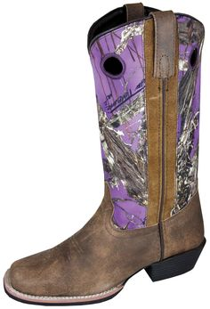 Smoky Mountain Boots Womens Tupelo Brown/Purple Distress Leather Camo
