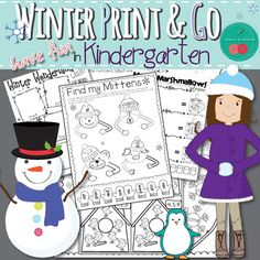 Winter Activities for Kindergarten - MATH and ELA Print and Go to Have Fun