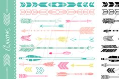 38 Arrows, colour, black and white ~ Illustrations on Creative Market, would make great tattoos