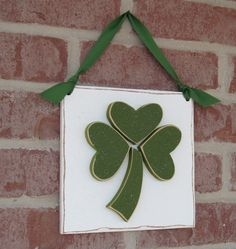 HANGING CLOVER or SHAMROCK with ribbon for St. Patricks Day, wall, door hanger, and  home decor on Etsy, $15.50