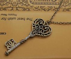Vintage Style Filigree Key Pendant Necklace