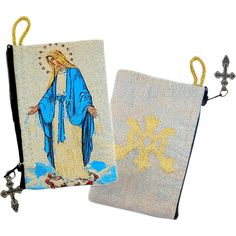 Keep your favorite devotional rosary in this protective, zippered pouch of Our Lady of Grace.