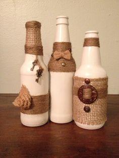 Repurposed bottles for home decor