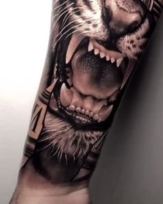 Tiger in black and gray realism - Tattoo in black and gray style created by the amazing tattoo artist Samurai Standoff from Porto Ale - Tiger Forearm Tattoo, Tiger Tattoo Sleeve, Lion Tattoo Sleeves, Mens Lion Tattoo, Cool Forearm Tattoos, Arm Sleeve Tattoos, Badass Tattoos, Tattoo Sleeve Designs, Body Art Tattoos